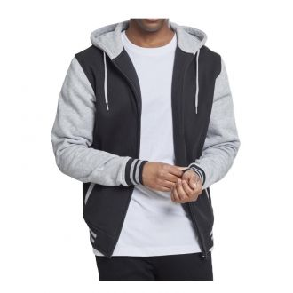 Urban 2-tone zip Hoody 287-Black-grey